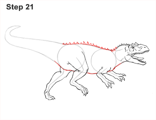 How to Draw Allosaurus Dinosaur Running Mouth Teeth 21