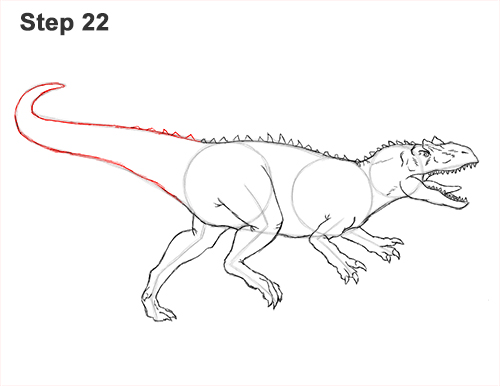 How to Draw Allosaurus Dinosaur Running Mouth Teeth 22
