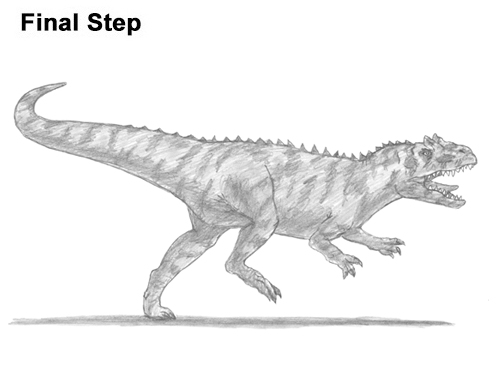 How to Draw Allosaurus Dinosaur Running Mouth Teeth