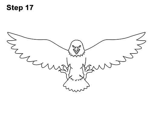 How to Draw Angry Cartoon Bald Eagle Flying Wings Talons 17