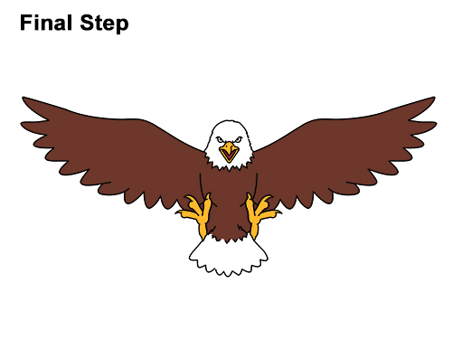 How to Draw Angry Cartoon Bald Eagle Flying Wings Talons