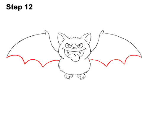 How to Draw Angry Funny Cute Halloween Cartoon Bat 12