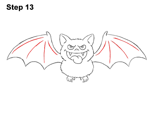 How to Draw Angry Funny Cute Halloween Cartoon Bat 13