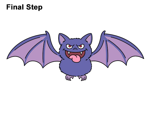 How to Draw Angry Funny Cute Halloween Cartoon Bat