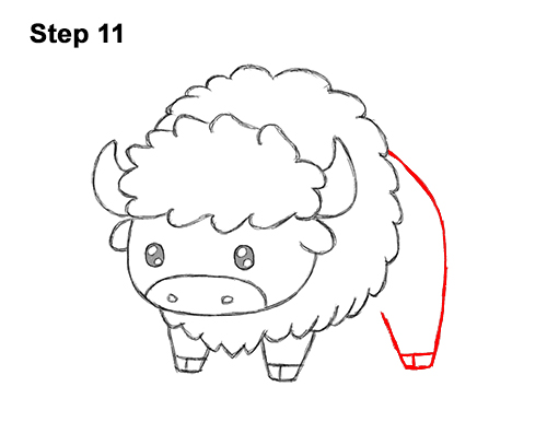 How to Draw Cute Cartoon Bison Buffalo 11