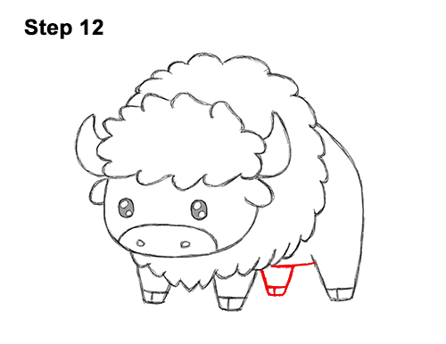 How to Draw Cute Cartoon Bison Buffalo 12