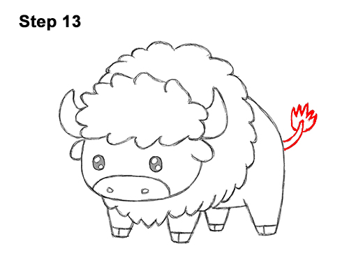 How to Draw Cute Cartoon Bison Buffalo 13