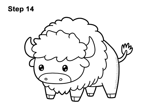 How to Draw Cute Cartoon Bison Buffalo 14