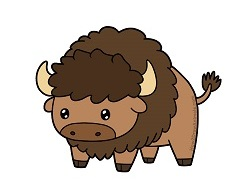 How to Draw a cute cartoon Bison Buffalo