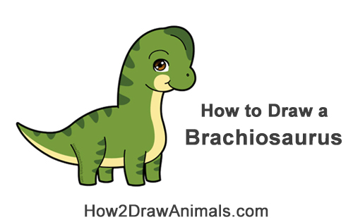 How to Draw a Cute Cartoon Brachiosaurus Dinosaur Chibi Kawaii