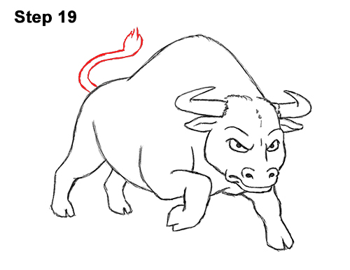 Draw Angry Mean Big Charging Cartoon Bull 19