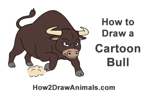 How to Draw Angry Mean Big Charging Cartoon Bull