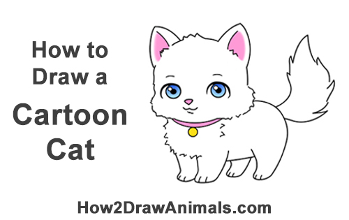How To Draw A Cat Cartoon Video Step By Step Pictures
