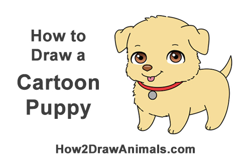 How to Draw a Cartoon Dog Puppy Retriever