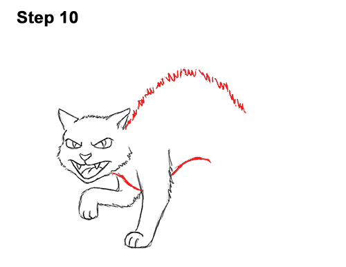 How to Draw Angry Mean Halloween Cartoon Black Cat arched back 10
