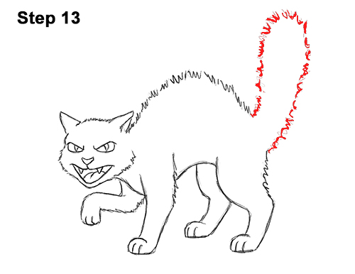 How to Draw Angry Mean Halloween Cartoon Black Cat arched back 13