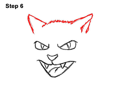 How to Draw Angry Mean Halloween Cartoon Black Cat arched back 6