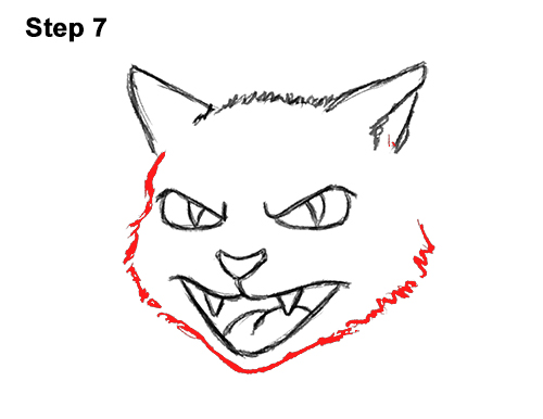 How to Draw Angry Mean Halloween Cartoon Black Cat arched back 7
