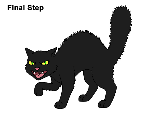 How to Draw Angry Mean Halloween Cartoon Black Cat arched back