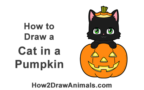 How to Draw Cute Cartoon Black Cat Kitten Halloween Chibi Kawaii