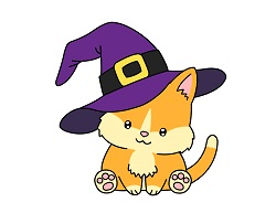 How to draw a cartoon Cat Halloween Witch Hat