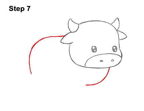 How to Draw Cute Cartoon Cow Chibi Kawaii 7