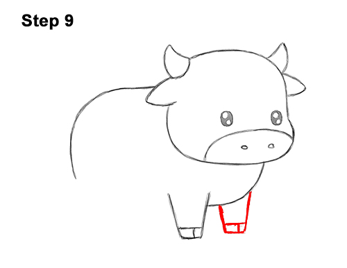 How to Draw Cute Cartoon Cow Chibi Kawaii 9