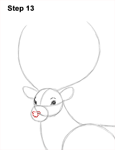 How to Draw a Red Deer Buck Stag Antlers 13