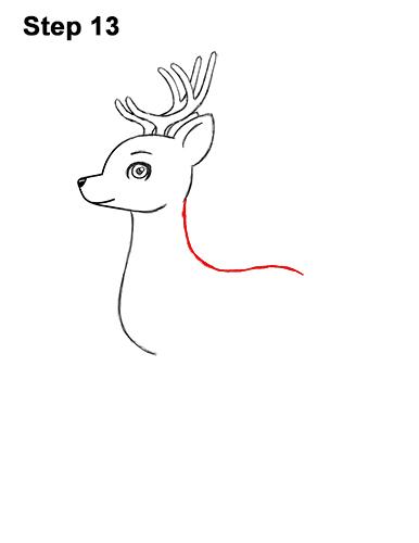 How to Draw Cute Cartoon Deer Antlers 13