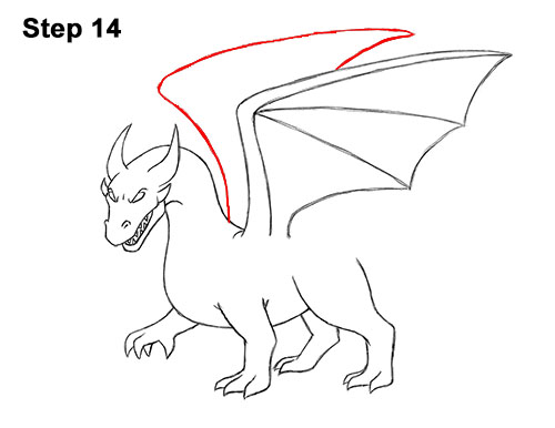 How to Draw Cool Angry Mean Cartoon Dragon 14