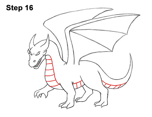 How to Draw Cool Angry Mean Cartoon Dragon 16