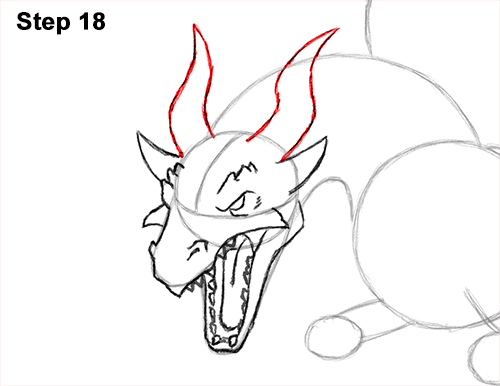 How to Draw Dragon Flying Fire Wings Flames 18