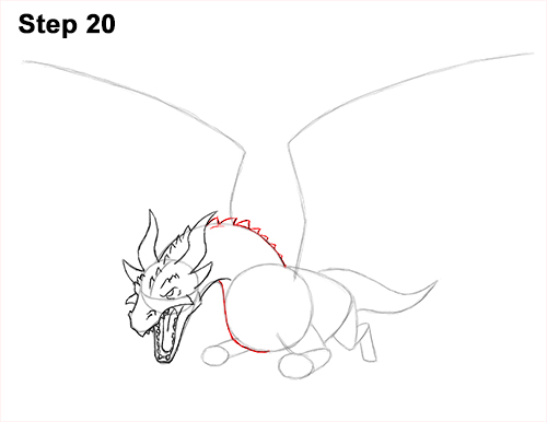 How to Draw Dragon Flying Fire Wings Flames 20