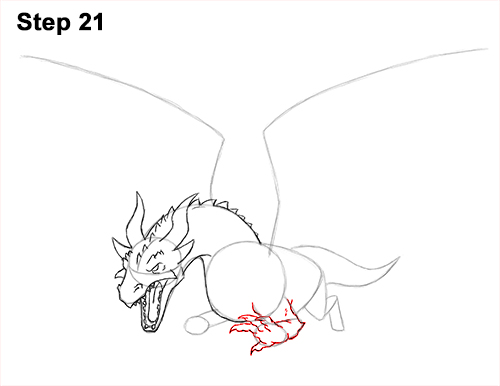 How to Draw Dragon Flying Fire Wings Flames 21