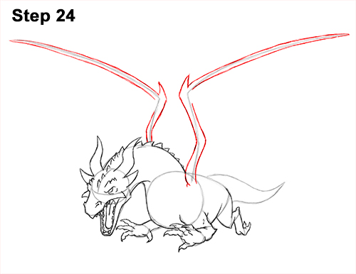 How to Draw Dragon Flying Fire Wings Flames 24