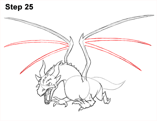 How to Draw Dragon Flying Fire Wings Flames 25