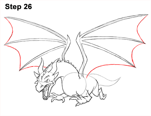How to Draw Dragon Flying Fire Wings Flames 26