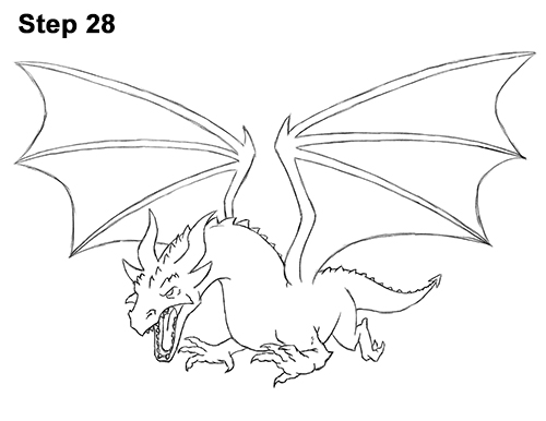 How to Draw Dragon Flying Fire Wings Flames 28