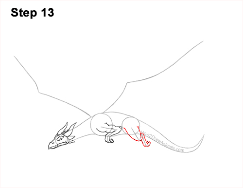 How to Draw a Dragon Flying Wings 13