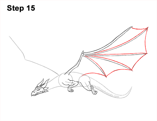 How to Draw a Dragon Flying Wings 15