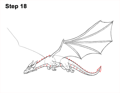 How to Draw a Dragon Flying Wings 18