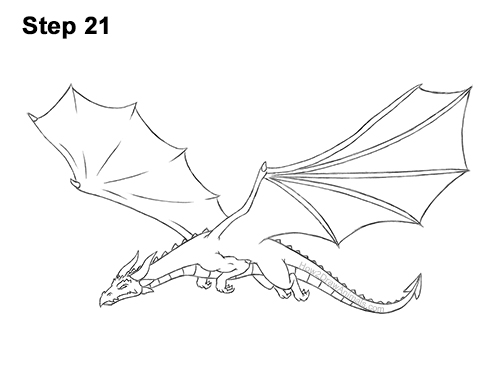 How to Draw a Dragon Flying Wings 21