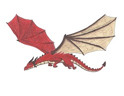 How to Draw a Dragon Flying Color Wings Red