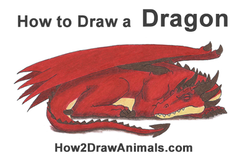 How to Draw a Red Dragon Sleeping Asleep Side