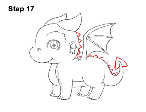 How to Draw a Cute Cartoon Baby Dragon Chibi Kawaii 17