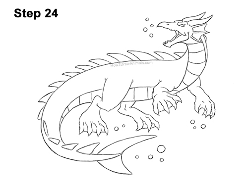 How to Draw Water Dragon Fictional 24