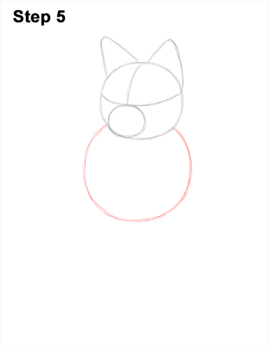 How to Draw a Red Fox Sitting 5