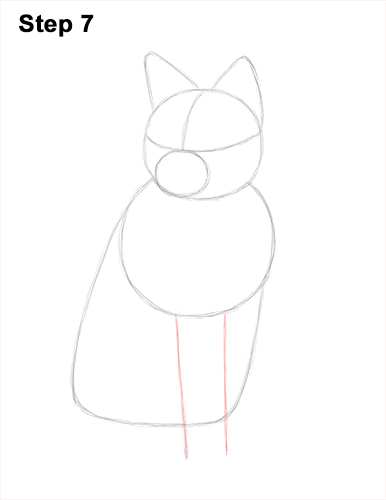 How to Draw a Red Fox Sitting 7