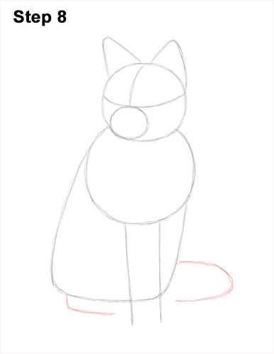 How to Draw a Red Fox Sitting 8