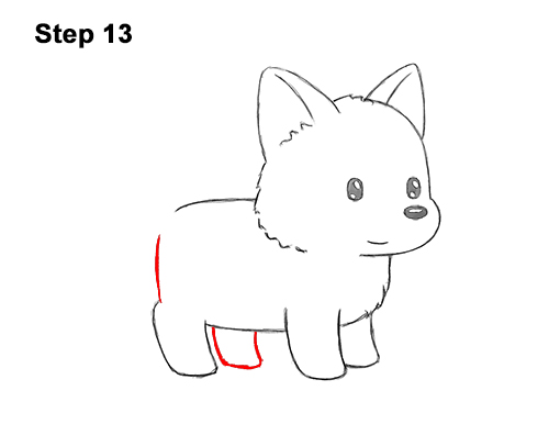 How to Draw Cute Cartoon German Shepherd Puppy Dog 13